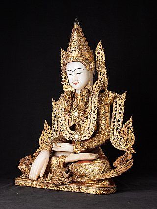 Zeer bijzondere Birmese gekroonde Boeddha