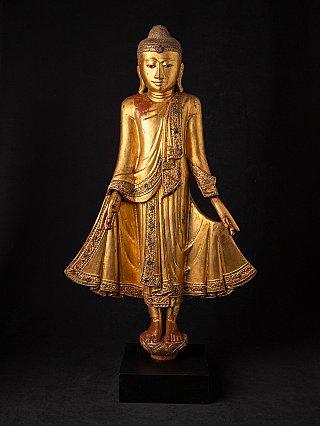 Antieke houten Mandalay Boeddha