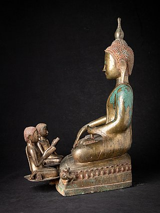 Special bronze Burmese Buddha statue with two monks