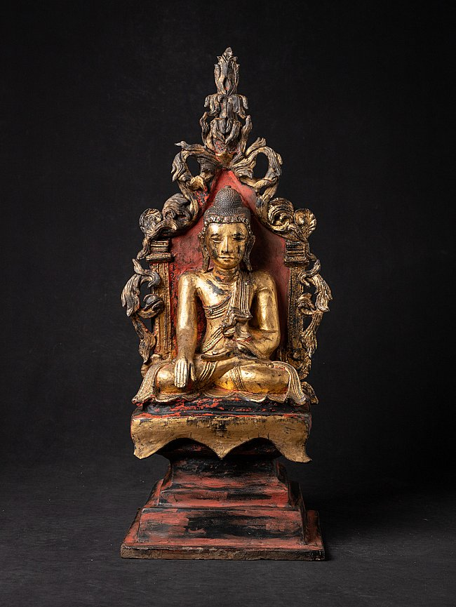 Antique Shan Buddha on throne