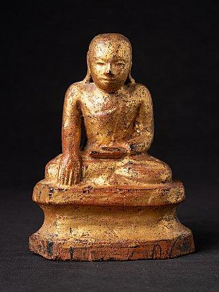 Antique wooden Burmese monk statue