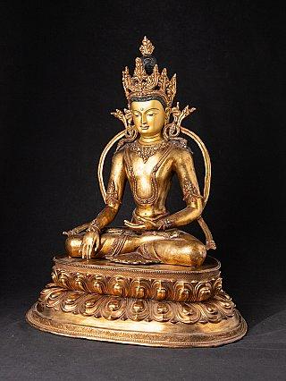 Antike nepalesische Bronze gekrönte Buddhafigur