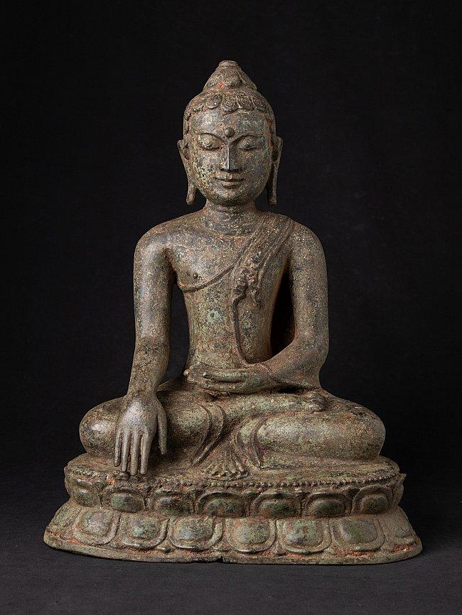 Antieke bronzen Birmese Lotus Boeddha