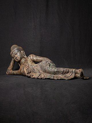 Antique bronze reclining Buddha statue