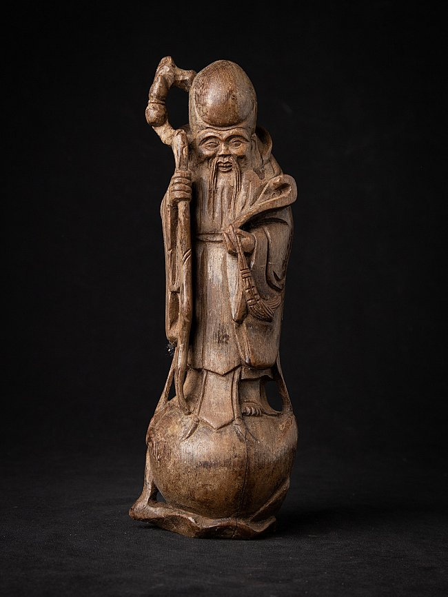 Antique Chinese wooden Deity - Lao Zi
