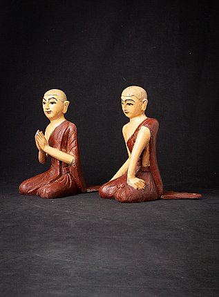 Pair of old wooden monk statues