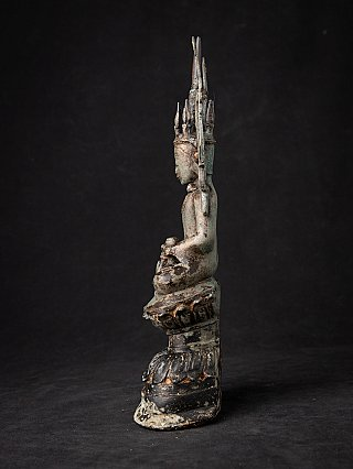 Antique crowned bronze Shan Buddha statue