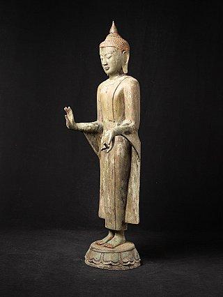 Antique standing bronze Burmese Buddha statue