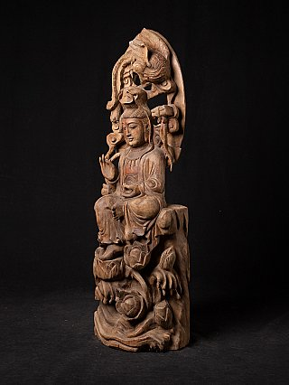 Alte teakholzerne Guan Yin Figur