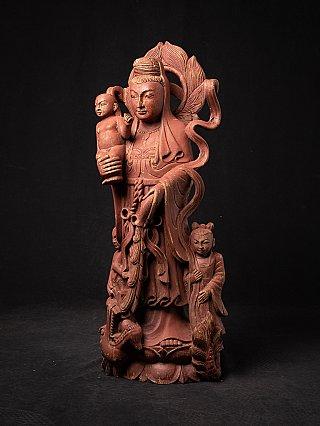 Oude Birmese houten Kwan Yin