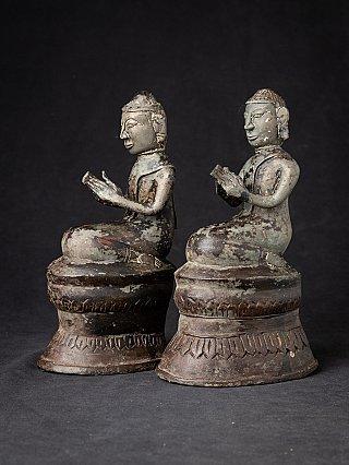 Antique pair of bronze Burmese Monk statues