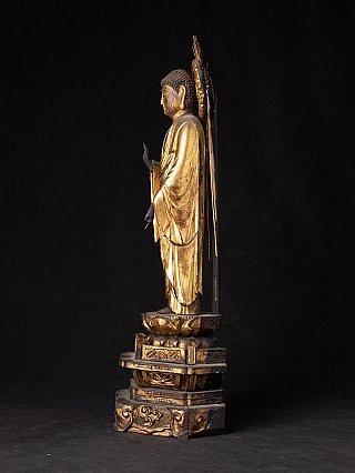 Antique wooden Japanese Amida Buddha statue