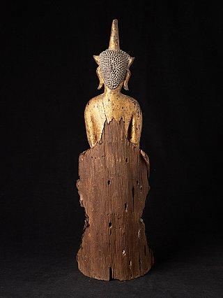 Antike holzerne Laotische Buddhafigur