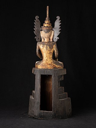 Antique Burmese crowned Shan Buddha