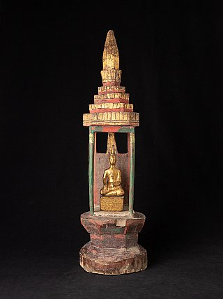 Antique wooden shine with Buddha statue from Laos