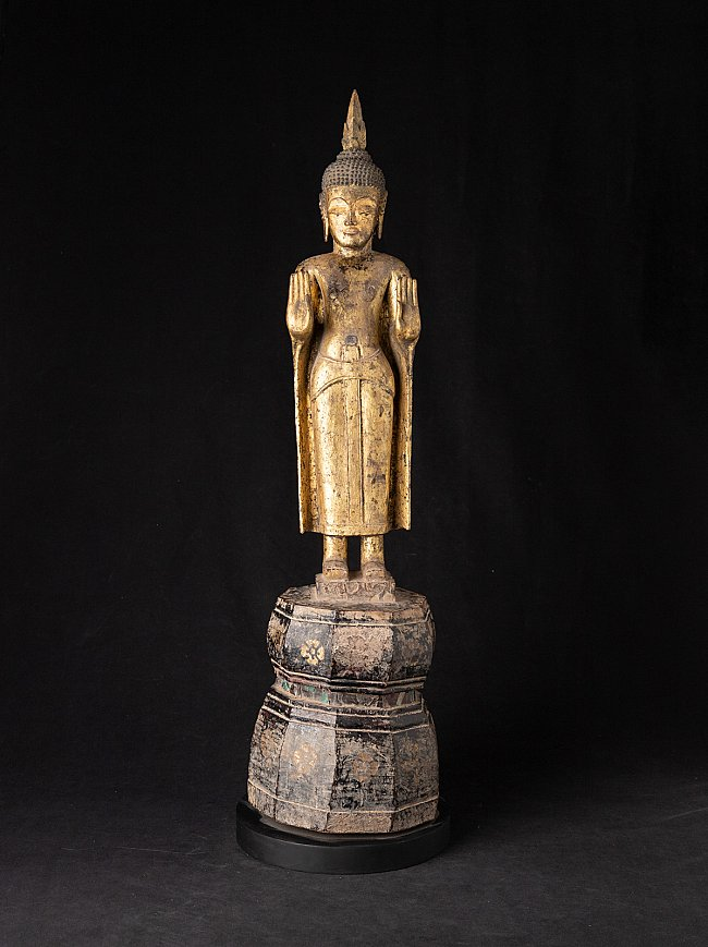 Antique wooden Laos Buddha statue