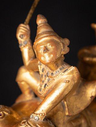 Antique wooden Burmese Nat on elephant