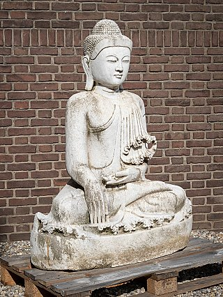 Old large marble Buddha statue