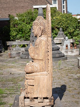 Large old sandstone Buddha statue