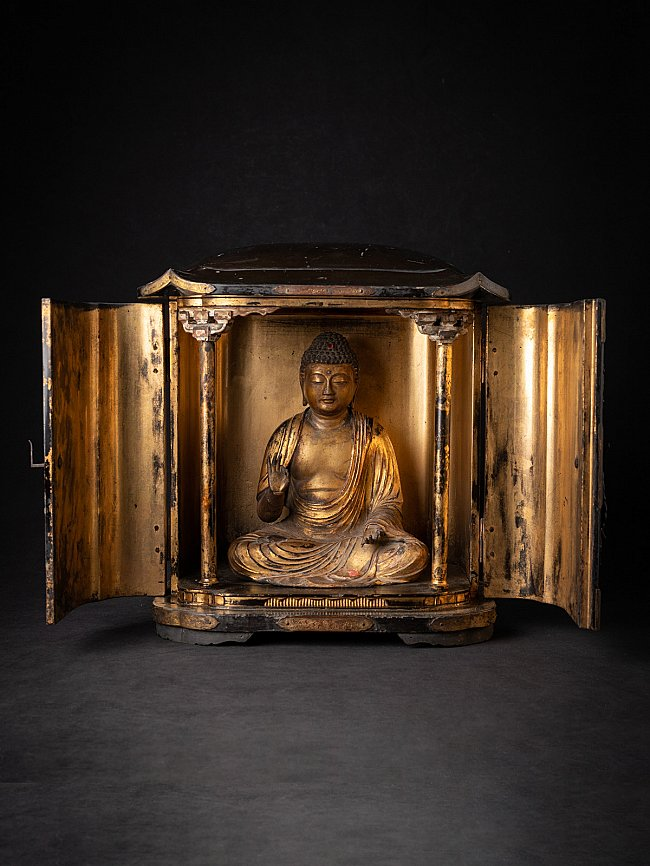 Antique Japanese Zushi shrine with Amida Buddha