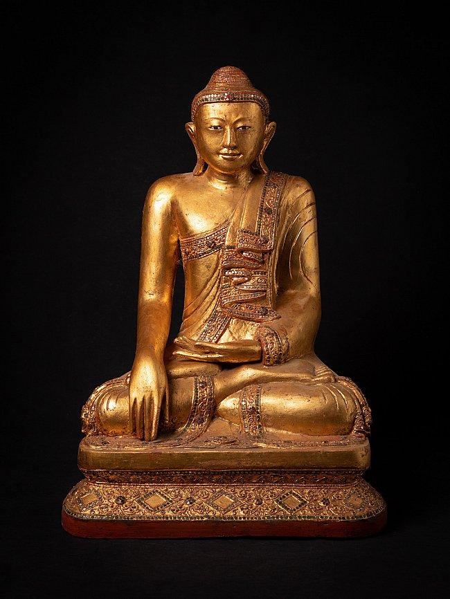 Alte Birmanische holzerne Buddhafigur