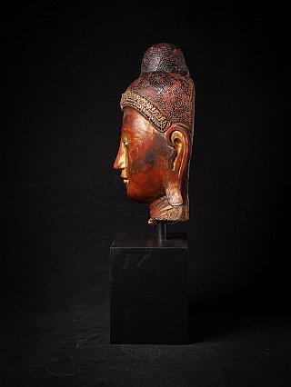 Large antique wooden Buddha head