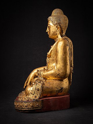 Large antique wooden Mandalay Buddha