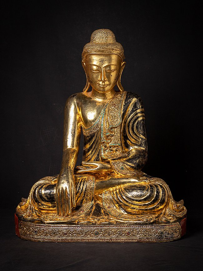 Large old wooden Burmese Buddha