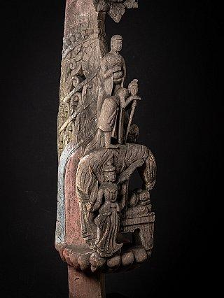 Antike Holzerne Tempel Paneel