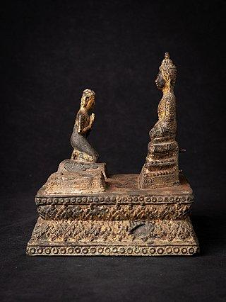 Antike bronze Thailandische Buddha mit Mönch Figur