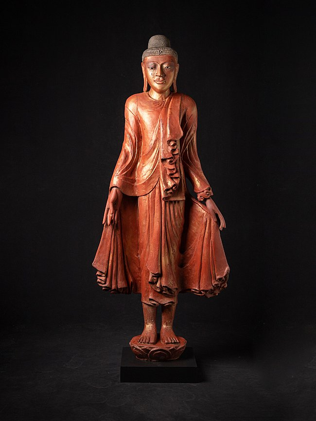 Large antique wooden Mandalay Buddha statue