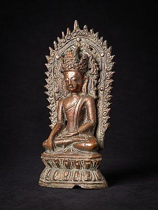 Antieke bronzen gekroonde Arakan Boeddha