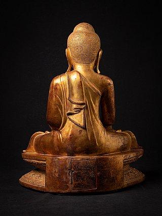 Bijzondere antieke houten Birmese Boeddha