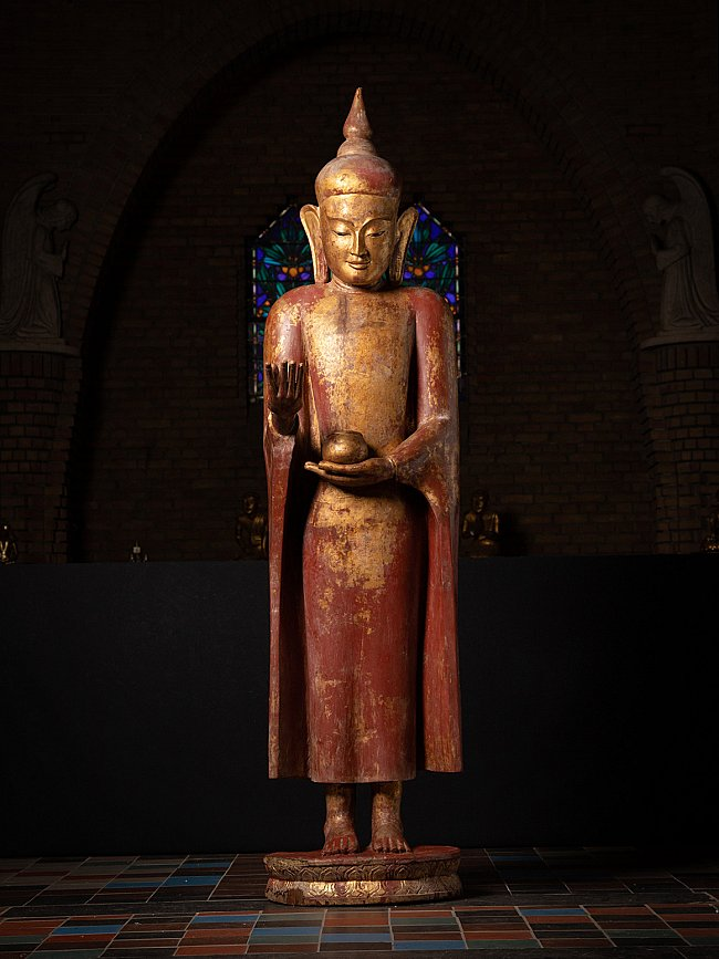 Very special large antique Burmese Buddha statue