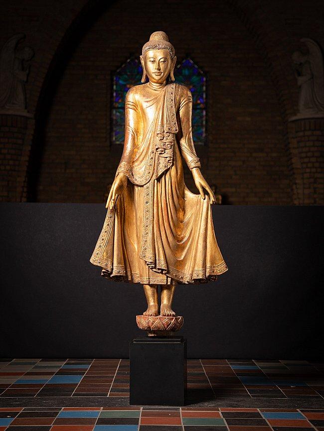 Very beautiful antique wooden Mandalay Buddha statue