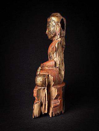 Antieke houten Birmese Boeddha
