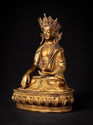 Alte bronze gekrönte Buddhafigur
