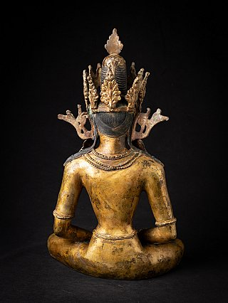 Antique bronze Nepali crowned Buddha statue