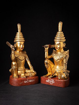 Pair of antique wooden Burmese Nat statues