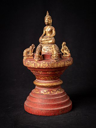 Antique wooden Burmese Buddha with 8 monks