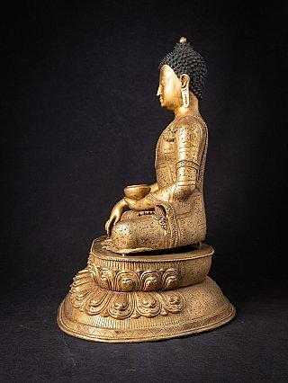 Oude bronzen vergulde Nepalese Boeddha