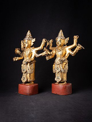 Special antique pair of Burmese Nat statues