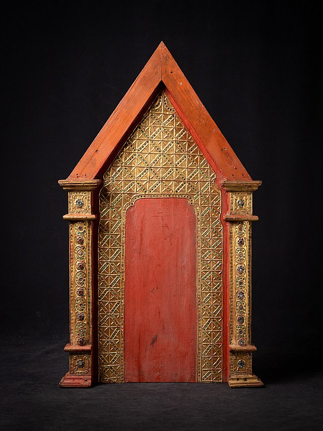 Antique Burmese wooden temple panel