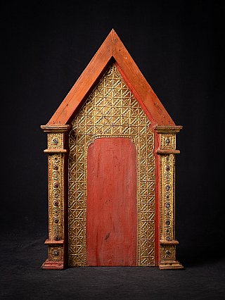Antique Burmese wooden temple panel