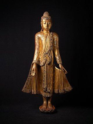 Large antique wooden Burmese Buddha statue