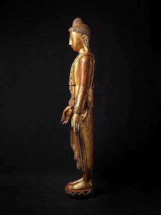Large antique wooden Burmese Buddha statue