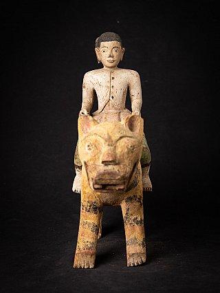 Antique wooden Burmese Nat on Tiger