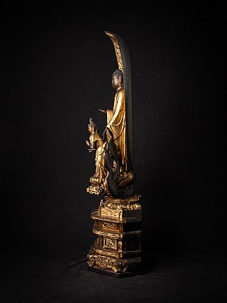 Very special antique Japanese Amida Buddha - Triad