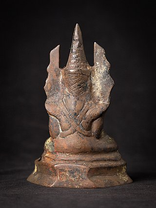 Old bronze Burmese crowned Buddha statue