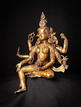 Large old bronze Nepali Basundhara statue